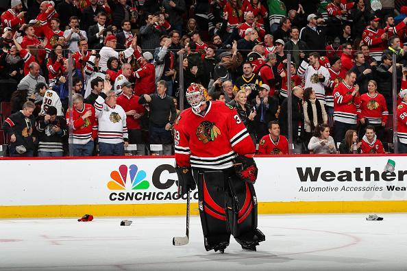 Scott Darling has some of the best numbers in the NHL since his arrival. (Photo by Chase Agnello-Dean/NHLI via Getty Images)