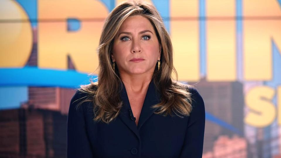 "<strong>Reason: </strong>Although she had no new acting roles in 2020, interest in Jennifer Aniston (pictured here in Apple's <em>The Morning Show</em>) remained sky-high this year thanks to <a href=""https://uk.movies.yahoo.com/brad-pitt-jennifer-aniston-reunite-fast-times-ridgemont-high-scene-083519203.html"" data-ylk=""slk:her virtual reunion with Brad Pitt;outcm:mb_qualified_link;_E:mb_qualified_link;ct:story;"" class=""link rapid-noclick-resp yahoo-link"">her virtual reunion with Brad Pitt</a>, and the upcoming <a href=""https://uk.movies.yahoo.com/friends-reunion-delayed-covid-19-110835705.html"" data-ylk=""slk:Friends reunion show, which was delayed to 2021;outcm:mb_qualified_link;_E:mb_qualified_link;ct:story;"" class=""link rapid-noclick-resp yahoo-link""><em>Friends</em> reunion show, which was delayed to 2021</a>."