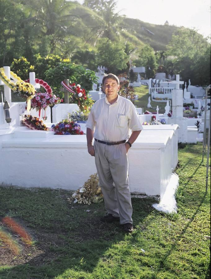 Paul Cox at a cemetery in Umatac Village, Guam, 2003.