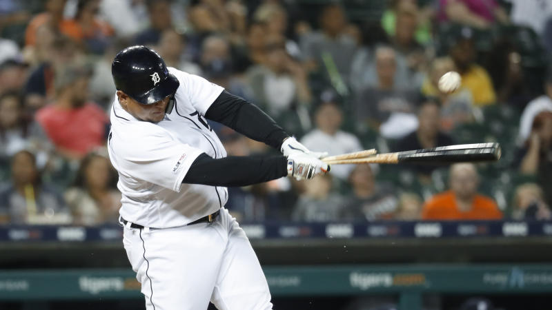 Detroit Tigers' Miguel Cabrera hits a broken-bat single during the third inning of the team's baseball game in Detroit, Friday, Sept. 20, 2019. (AP Photo/Paul Sancya)