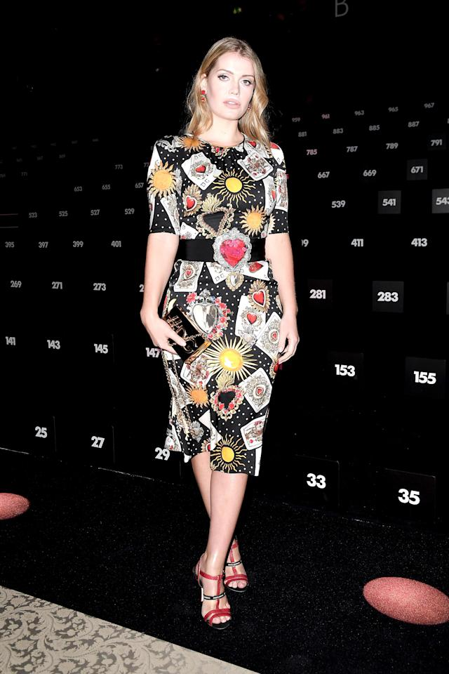<p>A staple of the Dolce & Gabbana front rows (and catwalks), Lady Kitty Spencer attended the brand's Fall 2018 show wearing a decorative Lady of Hearts dress from the brand's recent collection. (Photo: Getty Images) </p>