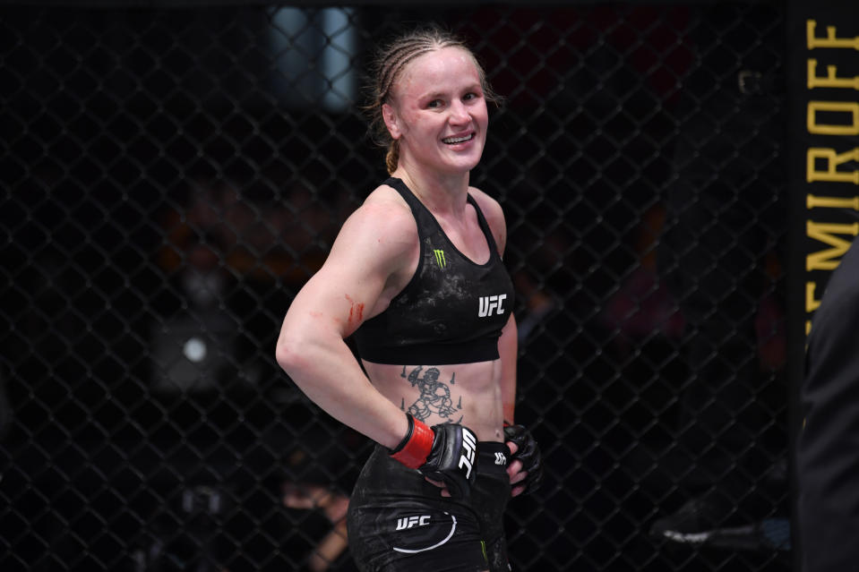 LAS VEGAS, NEVADA - NOVEMBER 21:  Valentina Shevchenko of Kyrgyzstan reacts after her women's flyweight championship bout against Jennifer Maia of Brazil during the UFC 255 event at UFC APEX on November 21, 2020 in Las Vegas, Nevada. (Photo by Jeff Bottari/Zuffa LLC)