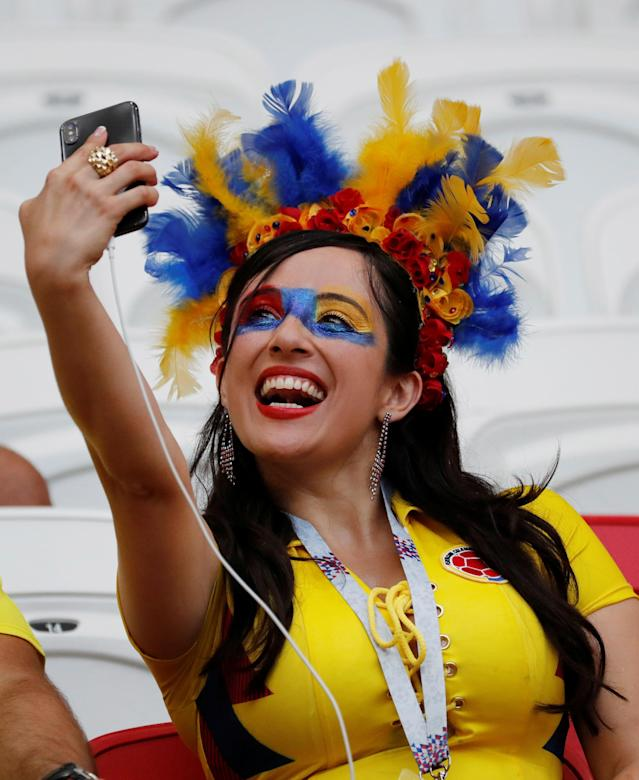 Soccer Football - World Cup - Group H - Poland vs Colombia - Kazan Arena, Kazan, Russia - June 24, 2018 Colombia fan in the stadium before the match REUTERS/Toru Hanai