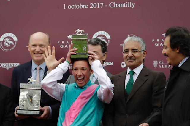 Trainer John Gosden and legendary jockey Frankie Dettori's remarkable partnership has been built on 'absolute trust' the trainer told AFP (AFP Photo/Thomas Samson)