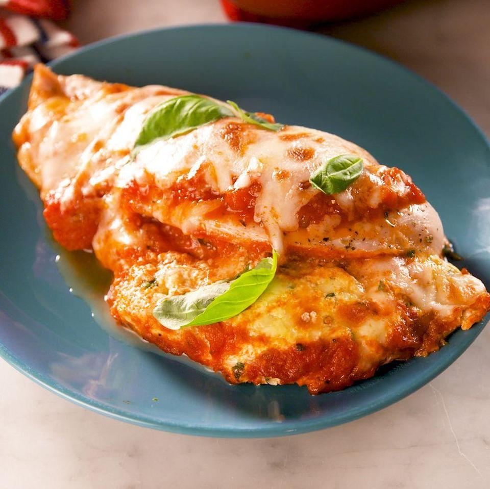 "<p>The best part of <a href=""https://www.delish.com/uk/cooking/recipes/a28831487/classic-lasagne-recipe/"" rel=""nofollow noopener"" target=""_blank"" data-ylk=""slk:traditional lasagne"" class=""link rapid-noclick-resp"">traditional lasagne</a> isn't the pasta—it's the ricotta filling. And that creamy cheese situation happens to taste incredible when stuffed into chicken breasts with <a href=""https://www.delish.com/uk/cooking/recipes/a30311380/marinara-sauce-recipe/"" rel=""nofollow noopener"" target=""_blank"" data-ylk=""slk:marinara sauce"" class=""link rapid-noclick-resp"">marinara sauce</a>. Whether you're looking for low carb dinner ideas or not, this <a href=""https://www.delish.com/uk/cooking/recipes/"" rel=""nofollow noopener"" target=""_blank"" data-ylk=""slk:recipe's"" class=""link rapid-noclick-resp"">recipe's</a> a real winner. </p><p>Get the <a href=""https://www.delish.com/uk/cooking/recipes/a30906944/lasagna-stuffed-chicken-recipe/"" rel=""nofollow noopener"" target=""_blank"" data-ylk=""slk:Lasagne Stuffed Chicken"" class=""link rapid-noclick-resp"">Lasagne Stuffed Chicken</a> recipe.</p>"