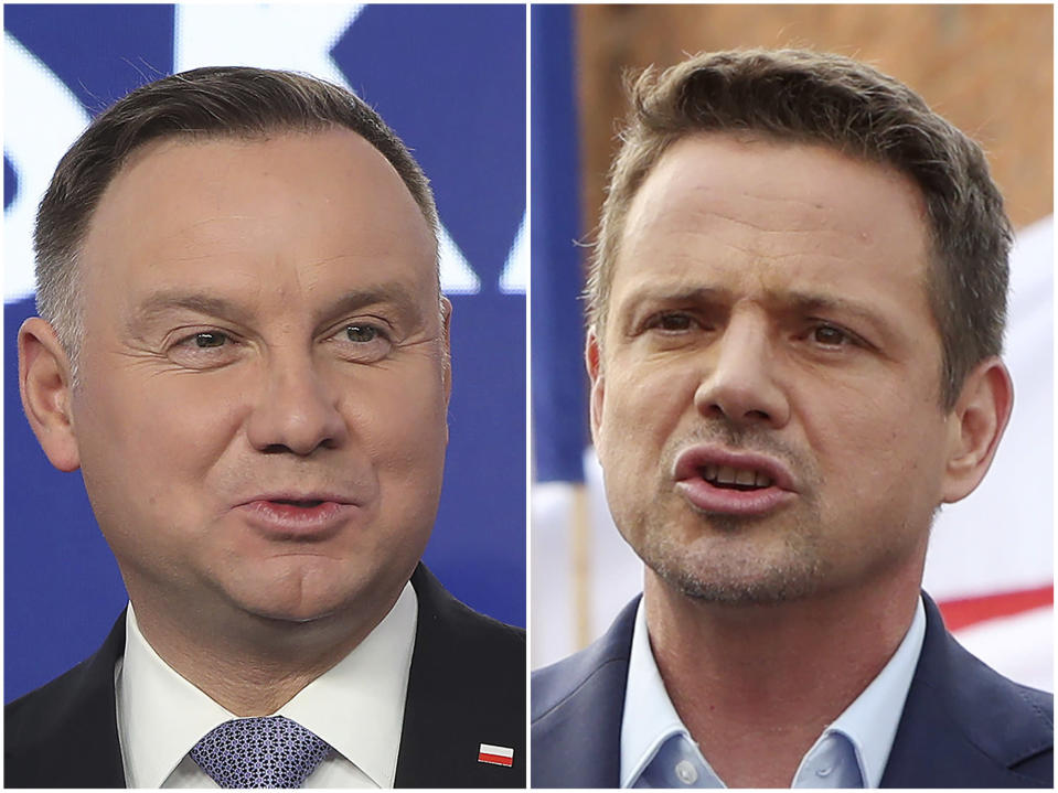 This combination of photos shows candidates in Poland's presidential election, Warsaw Mayor Rafal Trzaskowski, right, and Poland's President Andrzej Duda. The two candidates are heading into a razor's-edge presidential runoff election Sunday, July 12, 2020, that is seen as an important test of populism in Europe after a campaign that exacerbated a conservative-liberal divide in the country. (AP Photo/Czarek Sokolowski)