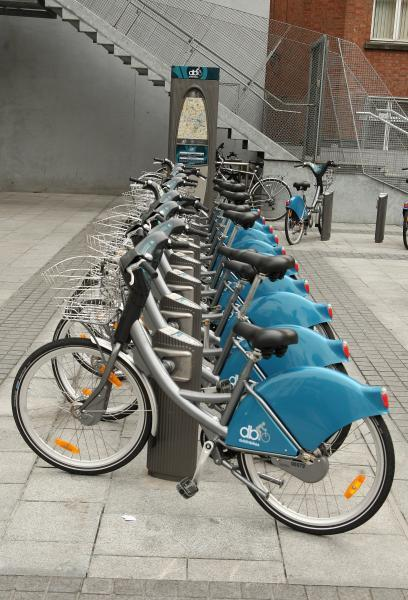 Dublin bikes are lined up at a pay point in Dublin, Ireland.
