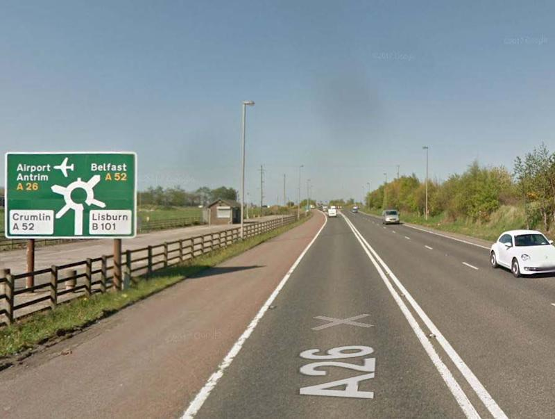 The approach to Nutts Corner roundabout, a short distance from where the light aircraft crashed: Google Maps