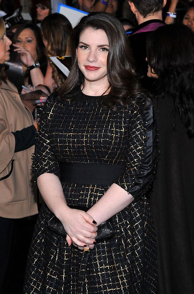 "Writer Stephanie Meyer arrives at the red carpet premiere for ""The Twilight Saga: Breaking Dawn – Part 1"" in Los Angeles, CA. (Photo by Vince Bucci/Yahoo!)"