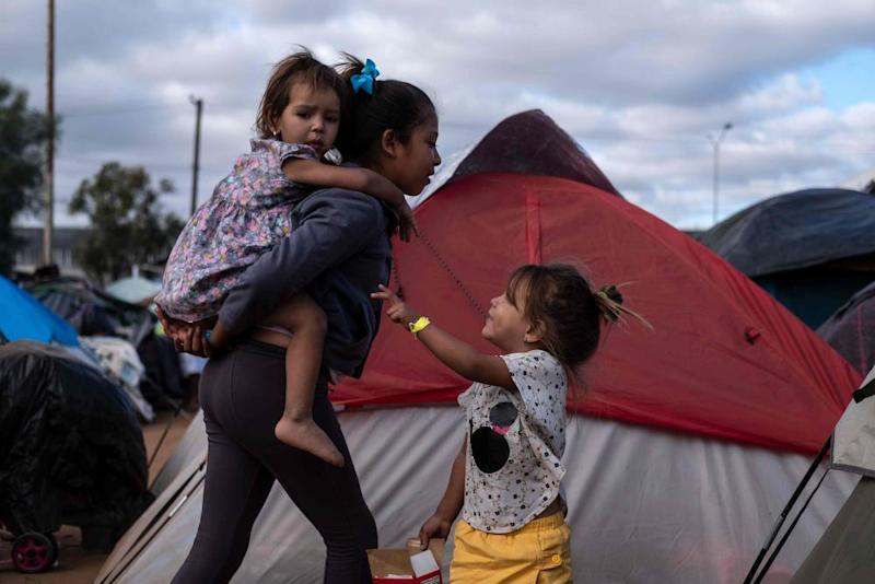 Children who have trekked for a month across Central America and Mexico at a temporary shelter in Tijuana.