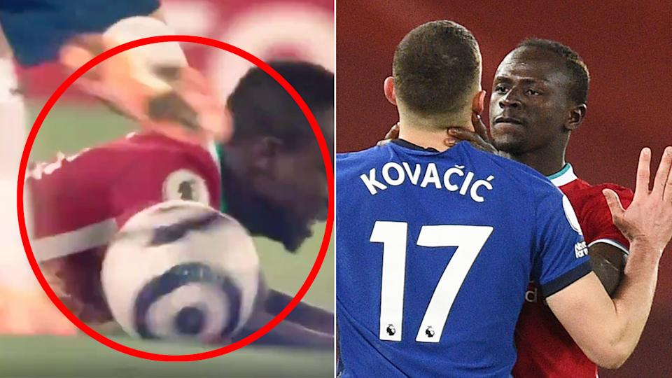 Seen here, Mateo Kovacic sparks anger after kicking a ball into Sadio Mane's head.