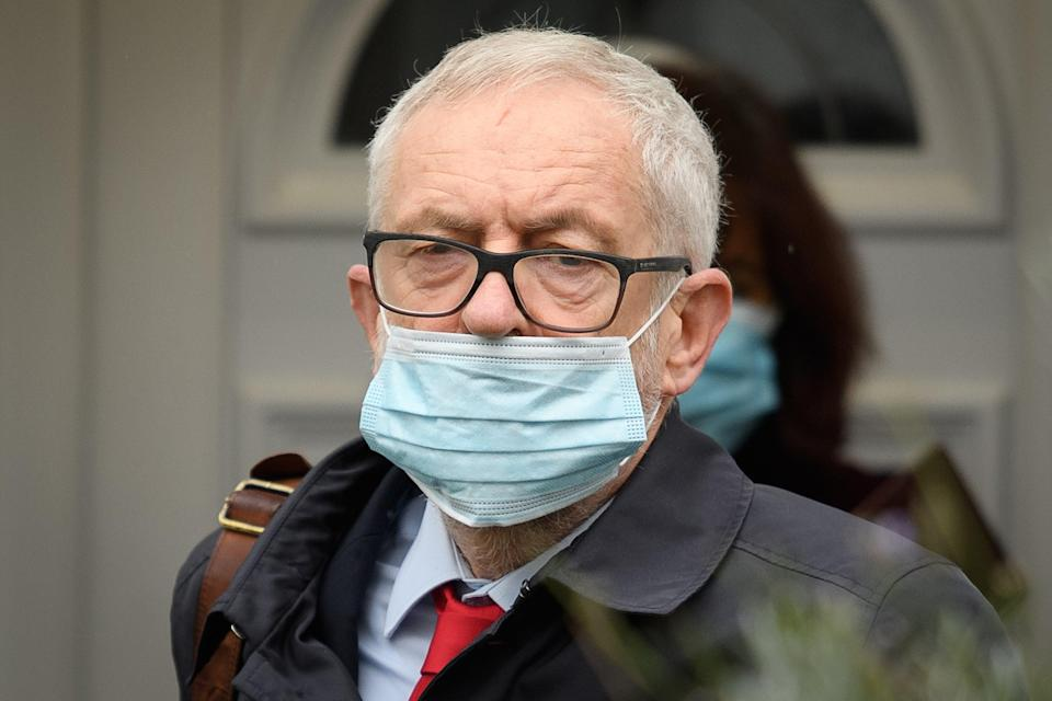 <p>Mr Corbyn leaves his home ahead of the publication of a report into Labour antisemitism</p> (Getty Images)