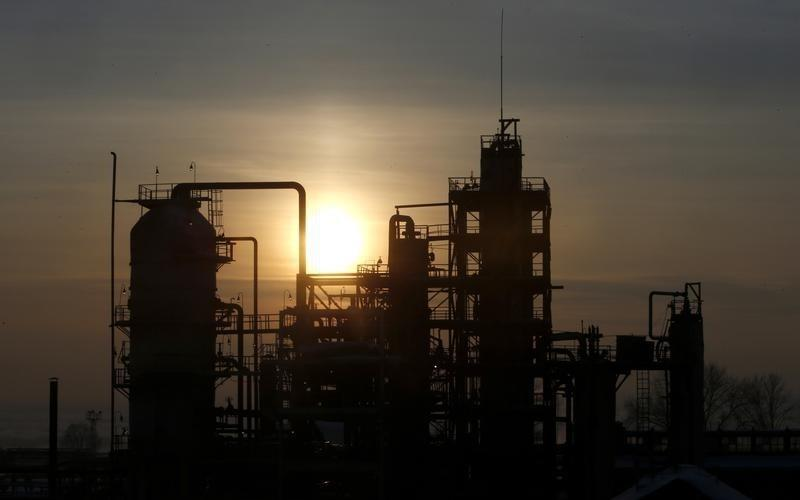 The Bashneft-Novoil oil refinery is seen at sunset outside Ufa, Bashkortostan