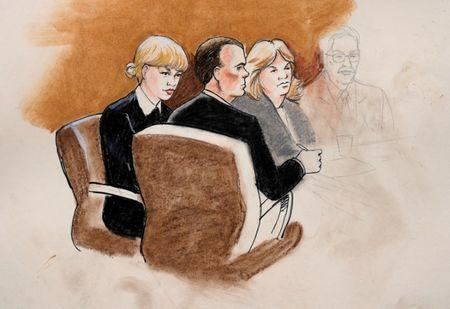 A sketch of Taylor Swift and her attorneys in Denver Federal Court during the Swift groping trial in Denver