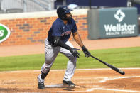FILE - Boston Red Sox' Jackie Bradley Jr. watches his line drive soar to center field for a home run against the Atlanta Braves during the fourth inning of a baseball game in Atlanta, in this Sunday, Sept. 27, 2020, file photo. Free-agent outfielder Jackie Bradley Jr. is joining the Milwaukee Brewers, agreeing to the parameters of a $24 million, two-year contract, a person familiar with the negotiations told The Associated Press. The person spoke on condition of anonymity Thursday, March 4, 2021, because the details of the agreement were still being negotiated and the deal is subject to a successful physical. (AP Photo/John Amis, File)