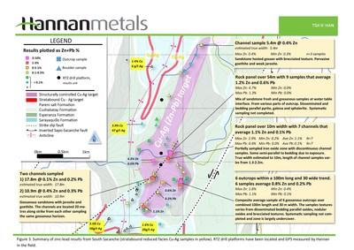 Figure 3. Summary of zinc-lead results from South Sacanche (stratabound reduced facies Cu-Ag samples in yellow). RTZ drill platforms have been located and GPS measured by Hannan in the field. (CNW Group/Hannan Metals Ltd.)