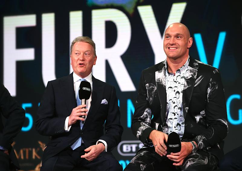 Promoter Frank Warren (left) and Tyson Fury during the press conference at BT Sport Studio, London. (Photo by Kirsty O'Connor/PA Images via Getty Images)