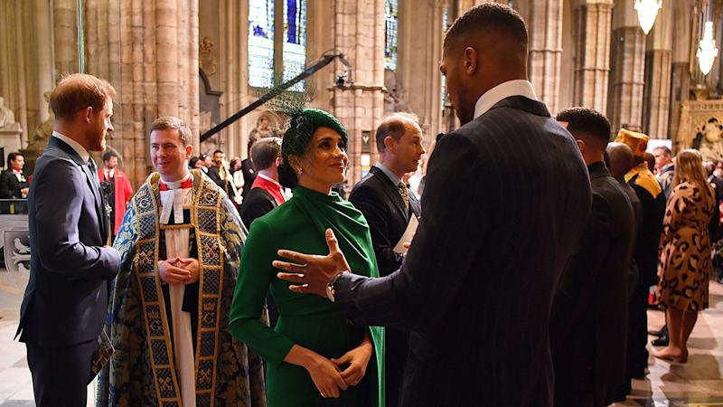 Anthony Joshua joined Britain's royal family for the 2020 Commonwealth Day Service. Pic: AAP