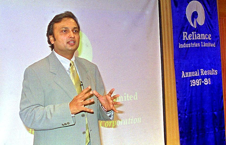 Anil Ambani, the managing director of Reliance Industries, addressing a press conference at the Oberoi Hotel in south Bombay to announce the company's 1997-98 financial results 27 April. Reliance saw a 25-percent increase in net profit to 424 million dollars.