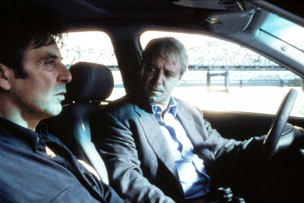 """<a href=""""http://movies.yahoo.com/movie/1800025632/info"""">The Insider</a> (1999:: Crowe earned his first Academy Award nomination, for best actor, for playing Big Tobacco whistleblower Jeffrey Wigand. Michael Mann's smart, suspenseful depiction of real-life events also required Crowe to pack on the pounds, and he steals the show from co-star Al Pacino as a """"60 Minutes"""" producer- -- no easy feat -- with his measured performance as a conflicted Everyman. Wigand is tormented by his knowledge of the danger of tobacco but compelled by a nondisclosure agreement to keep his mouth shut, and Crowe plays his ethical dilemma with quiet moodiness."""