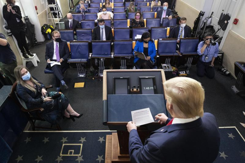 President Donald Trump arrives to speak with reporters about the coronavirus in the James Brady Press Briefing Room of the White House, Friday, May 22, 2020, in Washington. (AP Photo/Alex Brandon)