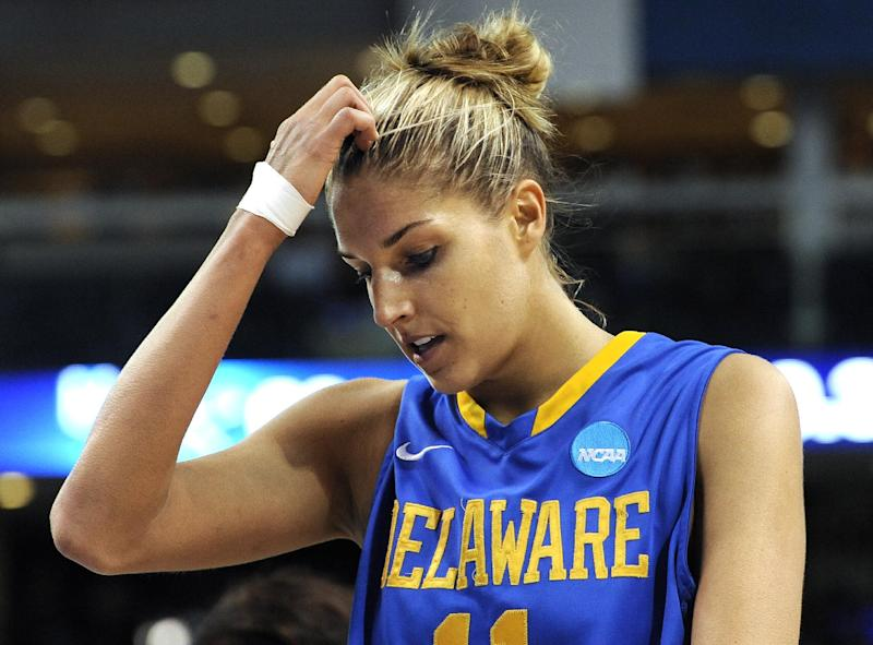 Delaware's Elena Delle Donne reacts in the final seconds of a regional semifinal against Kentucky in the NCAA college basketball tournament in Bridgeport, Conn., Saturday, March 30, 2013. Kentucky won 69-62. (AP Photo/Jessica Hill)