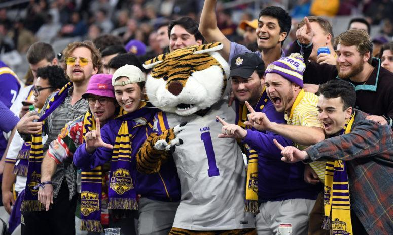 LSU's mascot celebrating with fans.