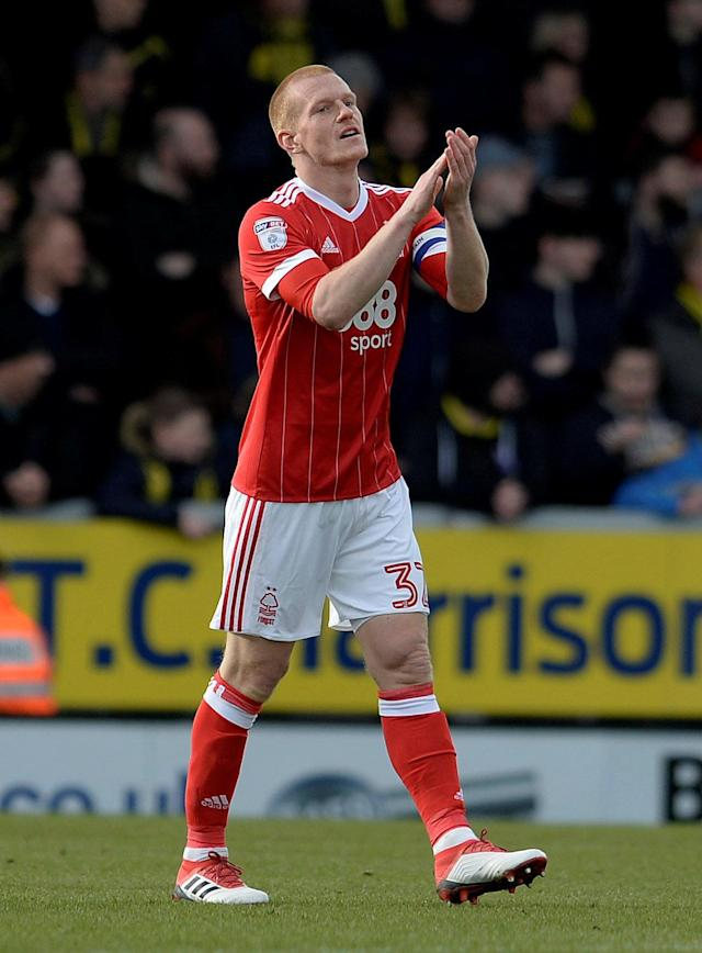"Soccer Football - Championship - Burton Albion vs Nottingham Forest - Pirelli Stadium, Burton-on-Trent, Britain - February 17, 2018 Nottingham Forest's Ben Watson gestures Action Images/Alan Walter EDITORIAL USE ONLY. No use with unauthorized audio, video, data, fixture lists, club/league logos or ""live"" services. Online in-match use limited to 75 images, no video emulation. No use in betting, games or single club/league/player publications. Please contact your account representative for further details."