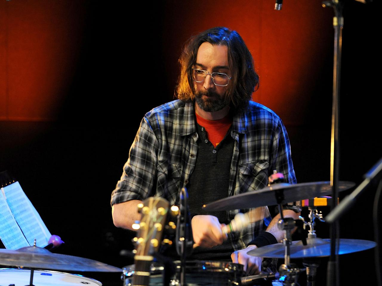 "Drummer Bryan Devendorf of The National performs during the Yahoo! Music Presents ""The Bridge Session"" sponsored by Headcount at TRI Studios on March 24, 2012 in San Rafael, California."
