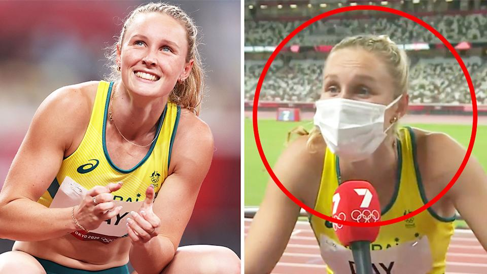 Riley Day (pictured left) excited after her 200m race at the Tokyo Olympics and (pictured right) sharing a laugh during an interview on the track.