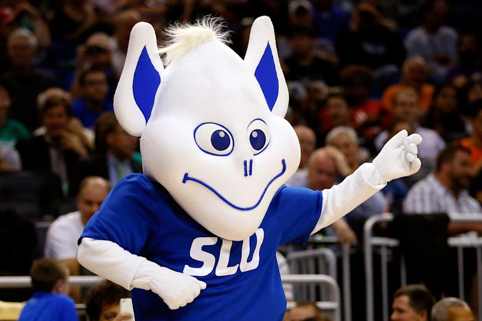 ORLANDO, FL - MARCH 20:  Saint Louis Billikens mascot cheers against the North Carolina State Wolfpack during the second round of the 2014 NCAA Men's Basketball Tournament at Amway Center on March 20, 2014 in Orlando, Florida.  (Photo by Kevin C. Cox/Getty Images)