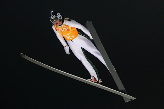 SOCHI, RUSSIA - FEBRUARY 17: Anders Johnson of the United States jumps during the Men's Team Ski Jumping first round on day 10 of the Sochi 2014 Winter Olympics at the RusSki Gorki Ski Jumping Center on February 17, 2014 in Sochi, Russia. (Photo by Julian Finney/Getty Images)