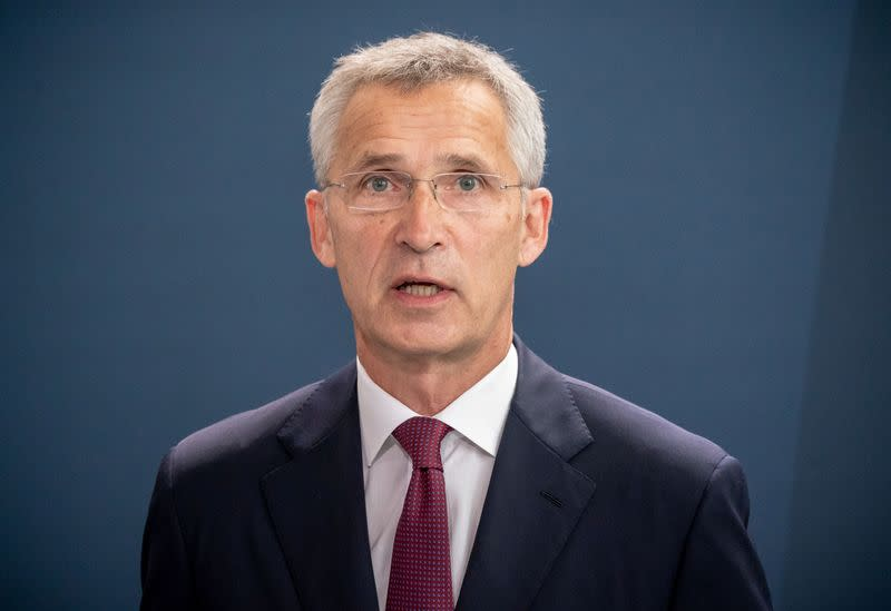 NATO Secretary General Jens Stoltenberg speak to reporters after meeting German Chancellor Angela Merkel at chancellery in Berlin