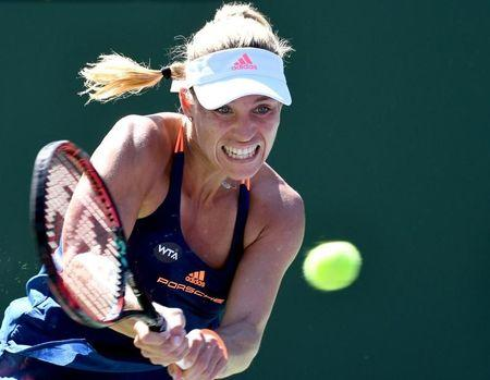 Mar 11, 2017; Indian Wells, CA, USA; Angelique Kerber (GER) returns during her second round match against Andrea Petkovic (not pictured) in the BNP Paribas Open at the Indian Wells Tennis Garden. Kerber won 6-2, 6-1. Mandatory Credit: Jayne Kamin-Oncea-USA TODAY Sports