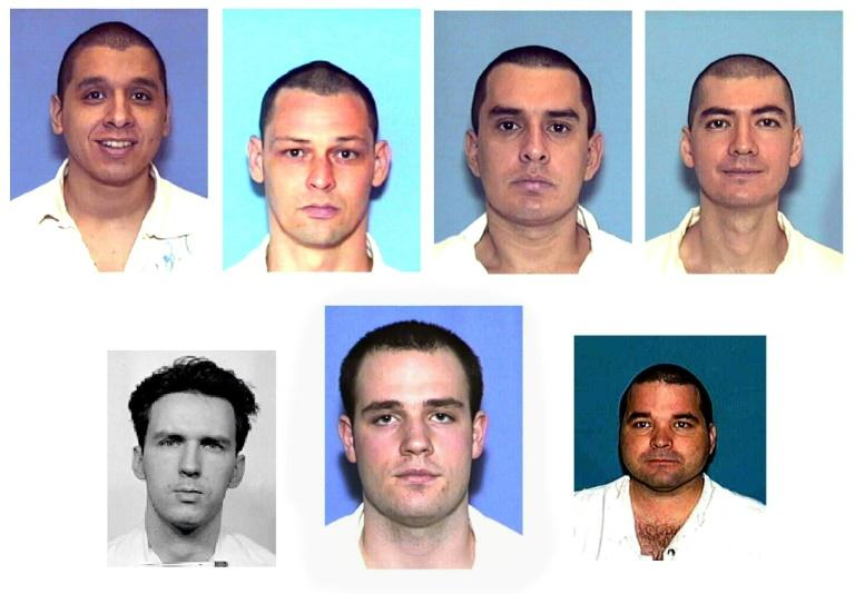 "A montage of photos from January 2001 shows the ""Texas Seven"" gang accused of killing a police officer in December 2000. Randy Halprin is bottom row, center"