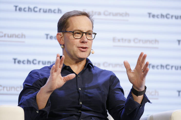SAN FRANCISCO, CALIFORNIA - OCTOBER 04: Chime Founder & CEO Chris Britt speaks onstage during TechCrunch Disrupt San Francisco 2019 at Moscone Convention Center on October 04, 2019 in San Francisco, California. (Photo by Kimberly White/Getty Images for TechCrunch)