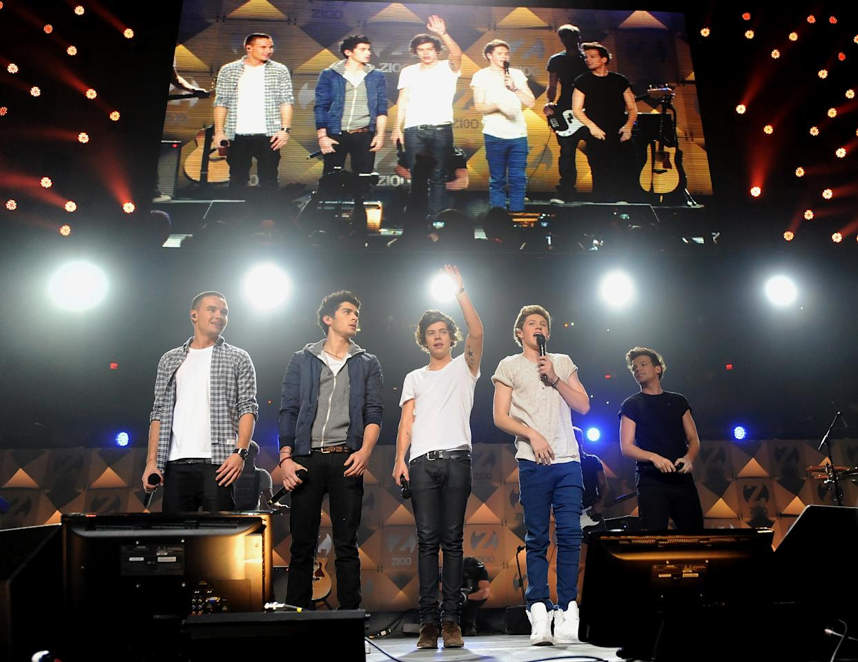 One Direction perform at Z100's Jingle Ball 2012 presented by Aeropostale at Madison Square Garden on Friday Dec. 7, 2012 in New York. (Photo by Evan Agostini/Invision/AP)