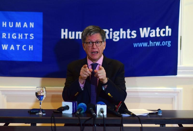 Jose Miguel Vivanco, director of Human Rights Watch Americas, gestures as he speaks during a presentation of the organization's World Report on Human Rights, in Mexico City
