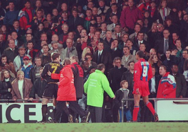 Eric Cantona was suspended for kung fu kicking a Palace fan