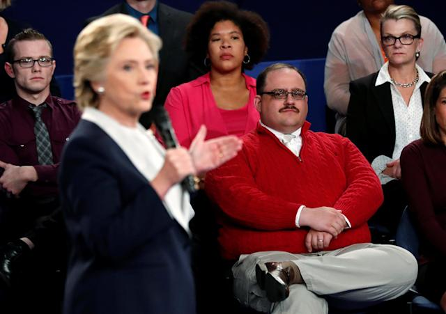 Ken Bone listens to Hillary Clinton during the second presidential debate in St. Louis, Oct. 9, 2016. (Photo: Rick Wilking/Reuters)