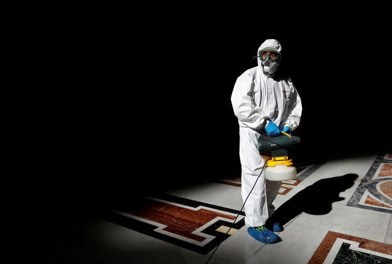 Almighty cleanup: St. Peter's in Rome gets coronavirus scrub-down
