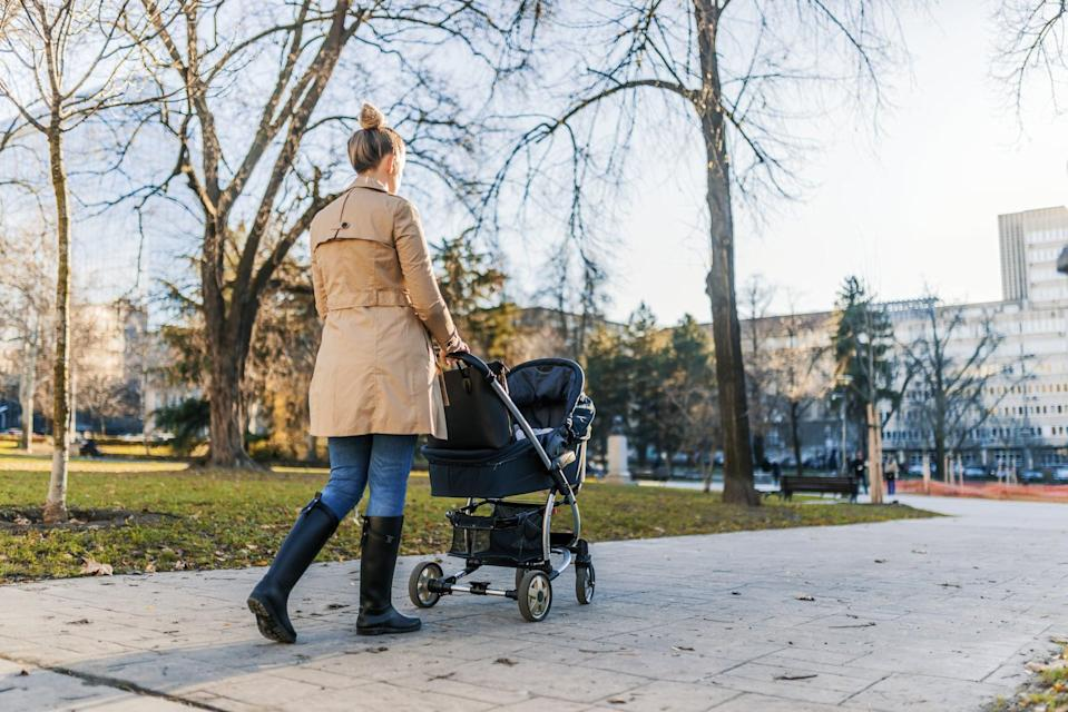 """<p>When taking care of a baby, it's really easy to get stuck sitting in a chair - or if you're like me, lying on the floor next to their play mat, just ogling them for hours. This is all well and good, but to keep my weight loss going, I tried to make sure I was <a href=""""https://www.popsugar.com/fitness/How-Many-Steps-Day-Lose-Weight-44886091"""" class=""""link rapid-noclick-resp"""" rel=""""nofollow noopener"""" target=""""_blank"""" data-ylk=""""slk:getting in some steps"""">getting in some steps</a> between feedings and play sessions.</p> <p>Once your doctor gives you the OK to start moving, take your baby out for a walk in the stroller or ask your partner, a friend, or family member to watch them so you can get out for a bit. Heck, even just catching up on household chores while the baby's asleep can give your step count a little lift.</p>"""