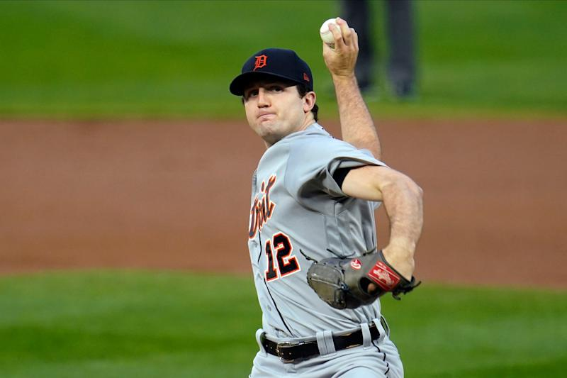 Detroit Tigers pitcher Casey Mize throws to a Minnesota Twins batter during the first inning of a baseball game Wednesday, Sept. 23, 2020, in Minneapolis.