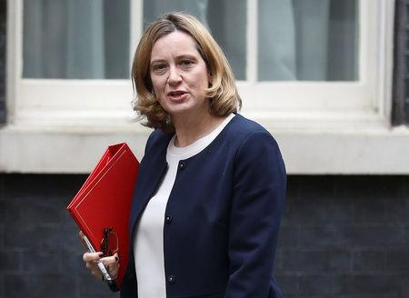 Britain's Home Secretary Amber Rudd arrives to attend a meeting of the National Security Council in Downing Street, in London