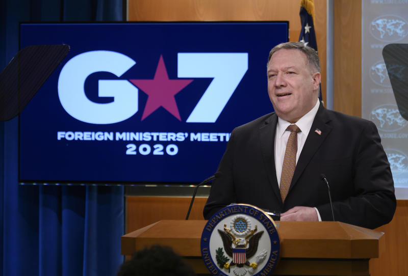 """Secretary of State Mike Pompeo speaks during a news conference at the State Department on Wednesday, March 25, 2020, in Washington. Pompeo said Wednesday that the Group of Seven members were all aware of China's """"disinformation campaign"""" regarding the coronavirus outbreak, as the two countries dispute the origins of the disease. (Andrew Caballero-Reynolds/Pool Photo via AP)"""