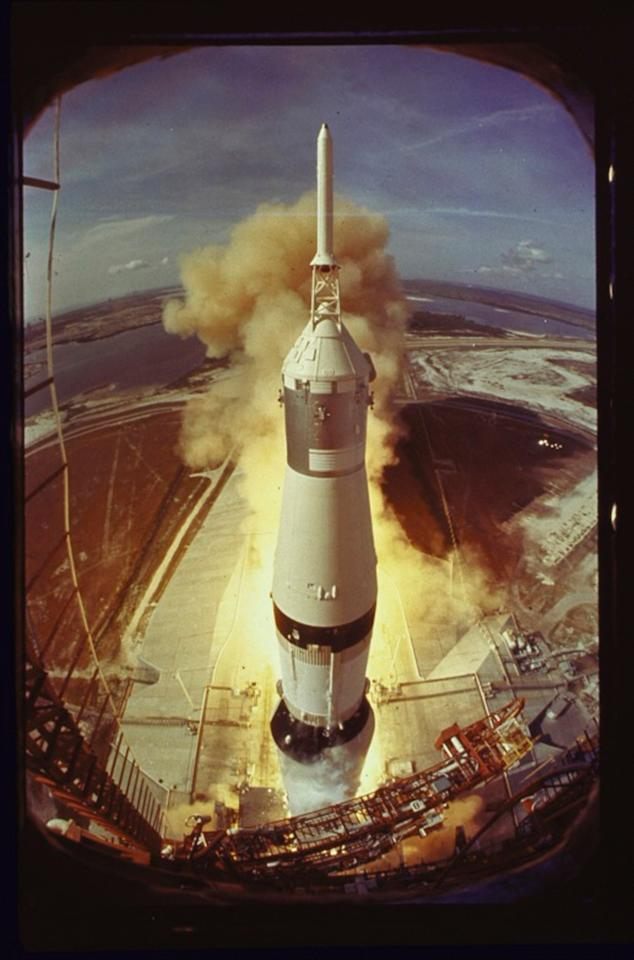 Apollo 11 lifts off on its historic flight to the moon, July 16, 1969.