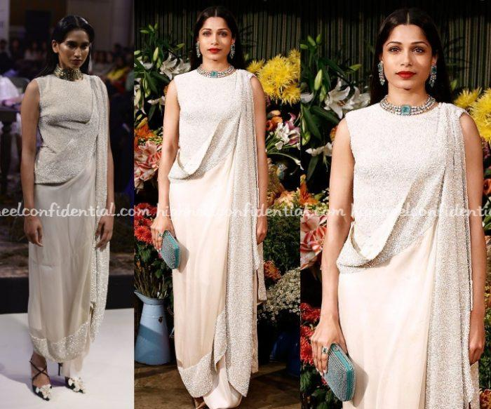 At the Business Of Fashion Voices gala dinner in UK, Freida was seen in an Anamika Khanna look from the designer's couture collection. The cream fusion sari needed a bit of color and am glad Ms. Pinto chose to wear it with emerald jewellery and carry that clutch. Having said that though, while I did […]