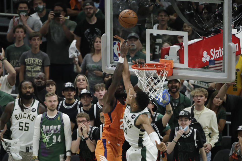Giannis Antetokounmpo's block on Deandre Ayton was the play of the NBA Finals. (AP Photo/Aaron Gash)