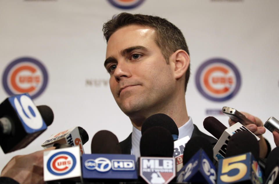 FILE - In this Jan. 13, 2012 file photo, Chicago Cubs president Theo Epstein speaks to reporters during the 27th annual Chicago Cubs baseball convention, in Chicago. Theo Epstein, who transformed the long-suffering Chicago Cubs and helped bring home a drought-busting championship in 2016, is stepping down after nine seasons as the club's president of baseball operations. The team announced Monday, Nov. 16, 2020, Epstein is leaving the organization, and general manager Jed Hoyer is being promoted to take his place. (AP photo/Nam Y. Huh, File)