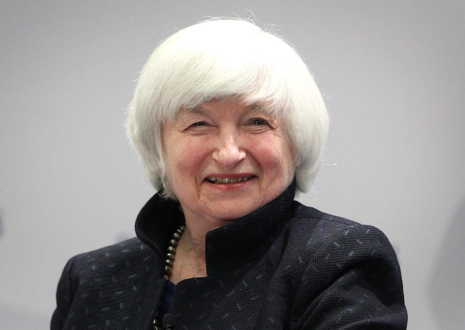 "In this file photo taken on November 14, 2017 US Federal Reserve chief Janet Yellen smiles as she attends a conference titled ""Communications Challenges for Policy Effectiveness"" organized by the European Central Bank (ECB) at the ECB headquarters in Frankfurt am Main, western Germany."